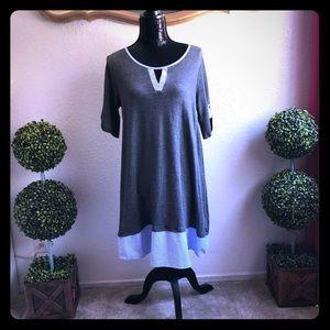 Like New Grey Dress with Blue & White Striped Trim